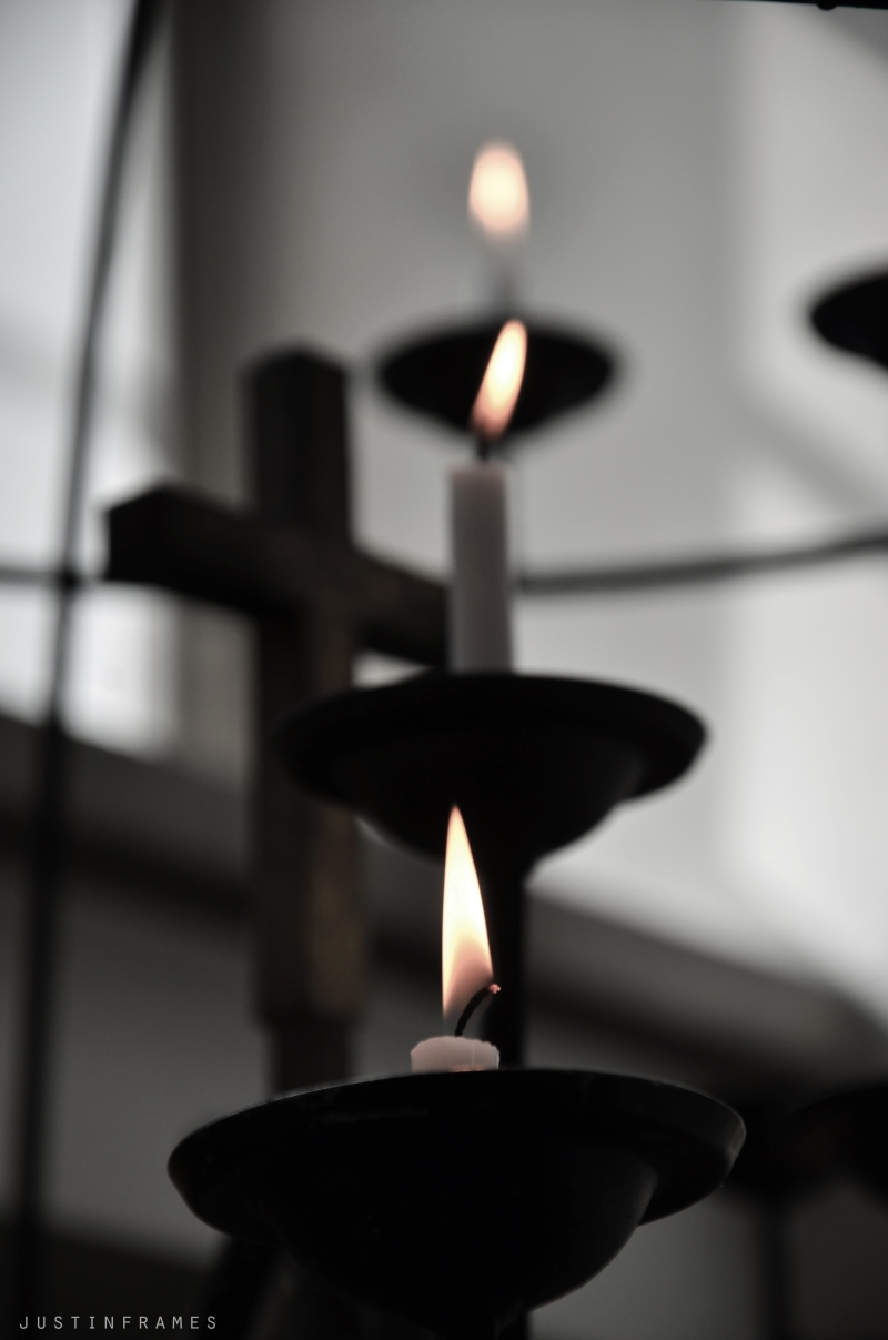 Of candles and a cross in a Finnish church